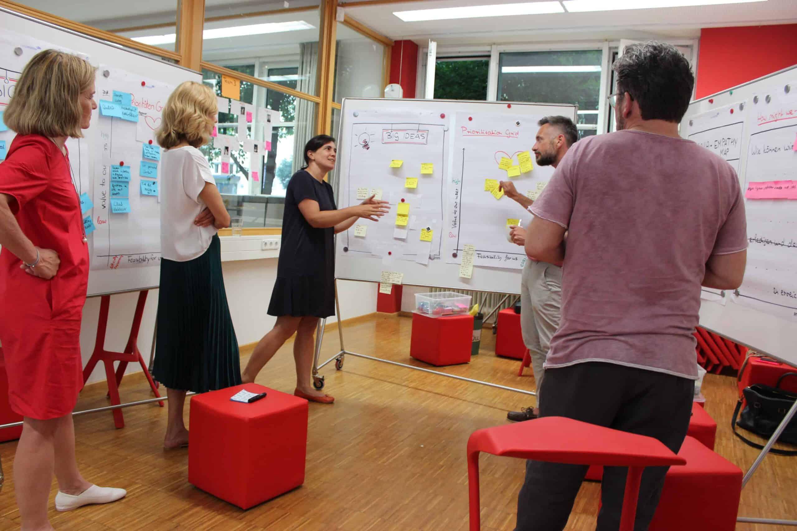 fuenf Design Thinking Workshopteilnehmer diskutieren